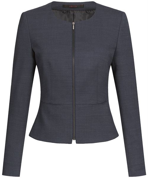 Navy round neck jacket with front zip closing and peplum style waist