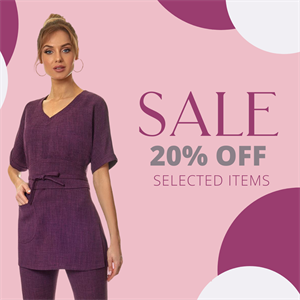 Plum tunic with sleeve and detachable belt