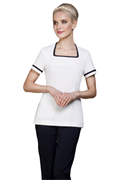 White square neck tunic with front pockets