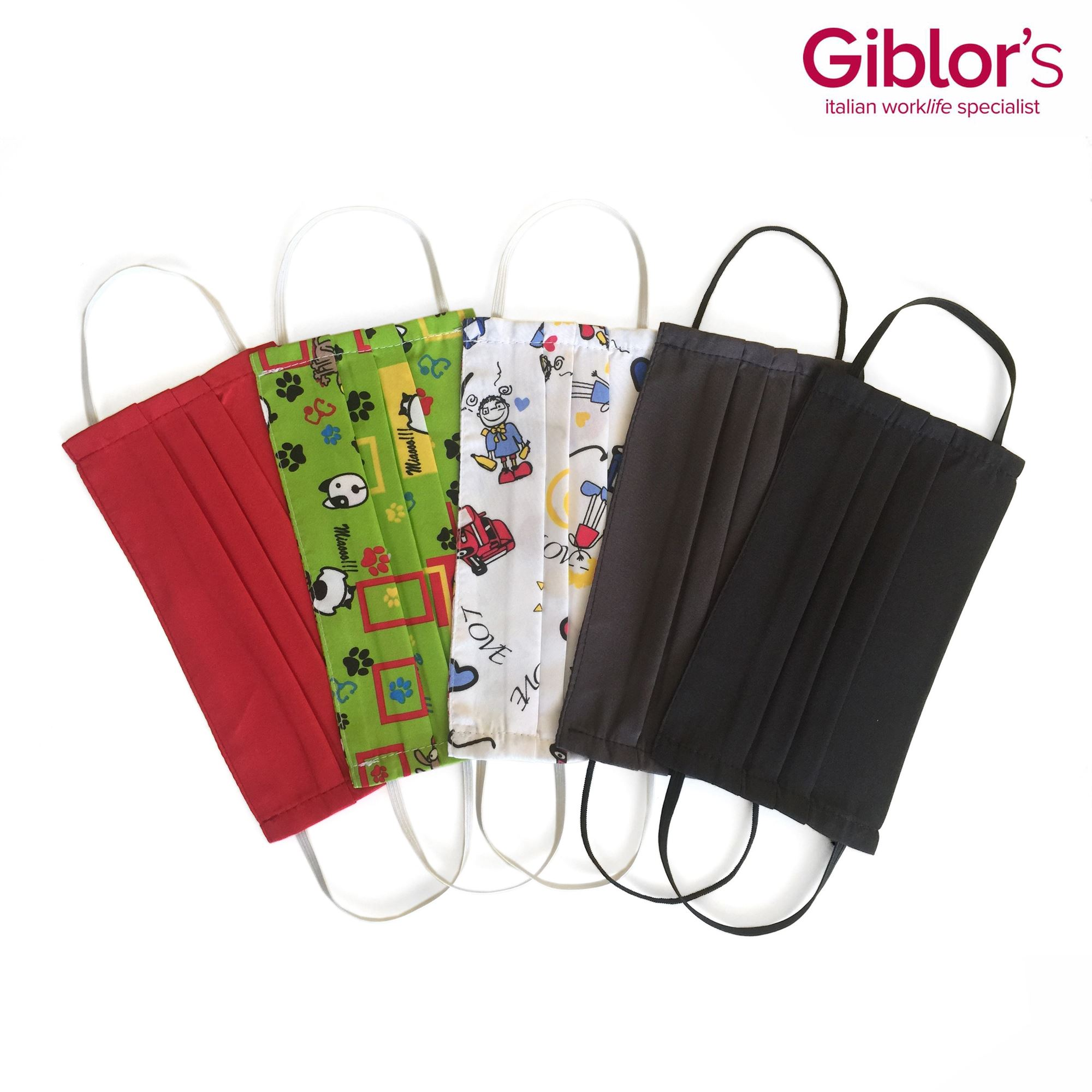Fabric facemasks showing in multiple colours