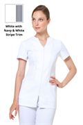 White strip zip front tunic with pockets