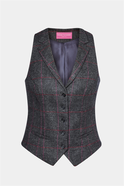 Charcoal with pink check waistcoat with five button front and welt pockets