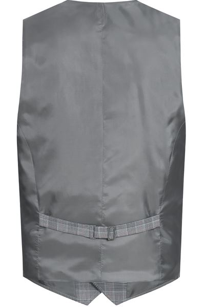 Back of grey glen check waistcoat with buckle detail